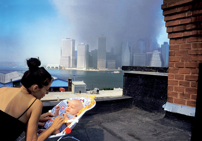 Alex Webb  View of lower ­Manhattan from a Brooklyn Heights rooftop, New York City, September 11, 2001
