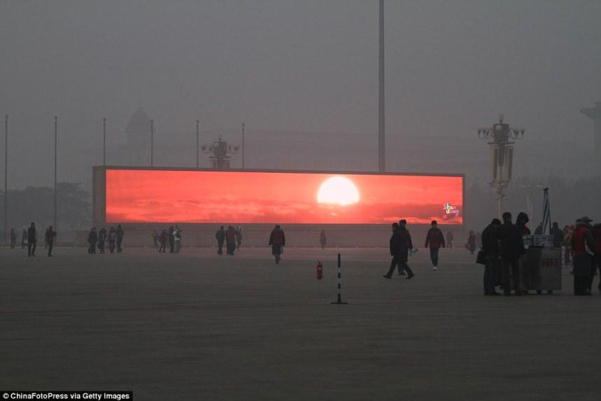 levé de soleil sur la place Tiananmen  Pékin. China photopres