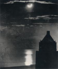 (Anonyme) Eclipse solaire à Chicago, skyline, 30/06/1954. Depuis une fenêtre de l'Hôtel Morrison dans la boucle de Chicago ...