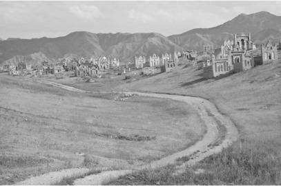 """Margaret Morton. Cities Of The Dead: Les cimetières ancestraux du Kirghizistan. (William Ferguson: """" (cette zone) maintenant un désert, et à cause de la route, parce que quelqu'un voulait aller d'ici à là, sans larmes. """""""