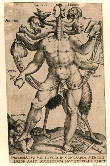 Une allégorie polémique présentée comme un monstre à cinq têtes, 1618
