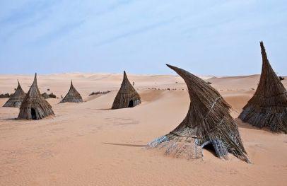 village Tuareg dans la région des lacs Ubari, désert du Sahara, Libye